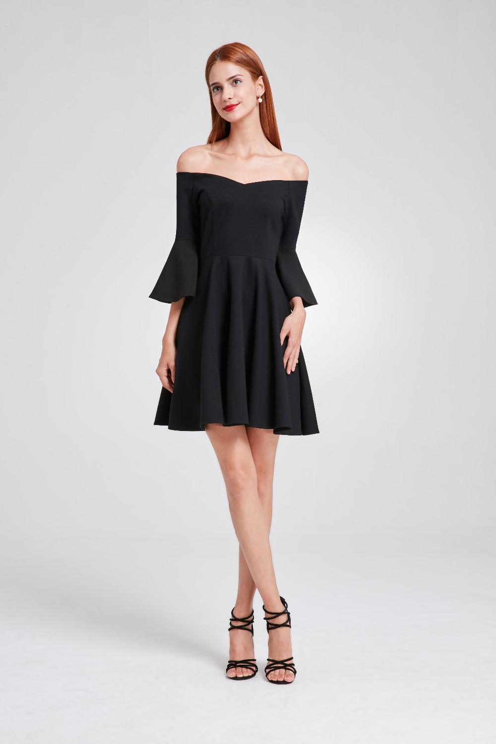 Ever Pretty Backless V Neck 2018 New Fashion Women Cocktail Dress Black Flare Sleeve Unique Cocktail Dresses EP05883-in Cocktail Dresses from Weddings ...