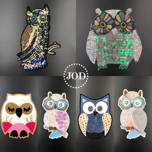 JOD Sequin Cartoon Owl Iron on Patches for Clothing DIY Sewing Large Embroidery Patch Applique Clothes Stickers Decorative @