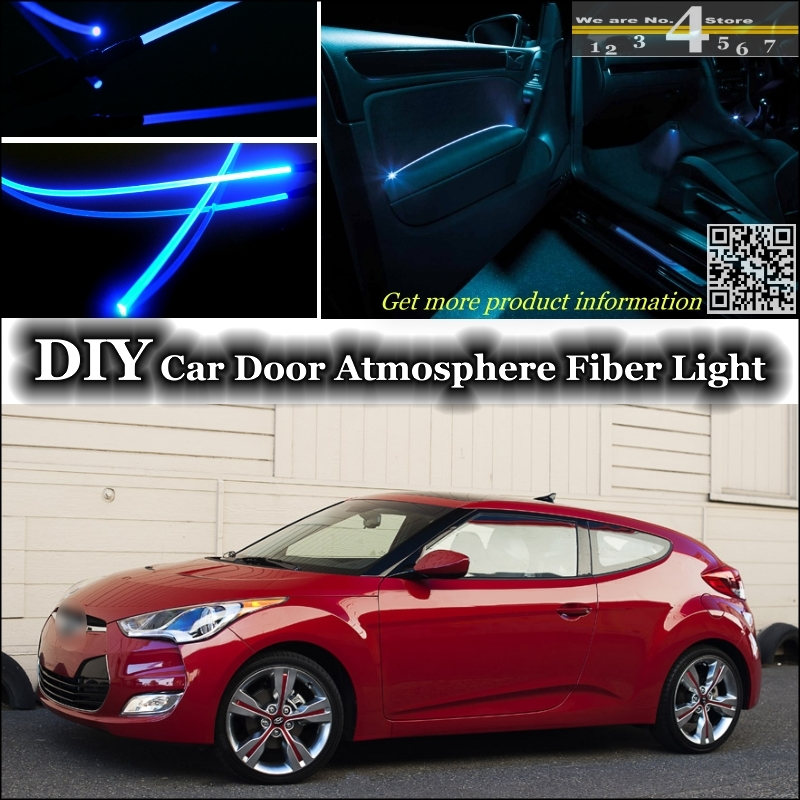 Interior Ambient Light Tuning Atmosphere Fiber Optic Band Lights For Hyundai Veloster Inside Door Panel Illumination Tuning
