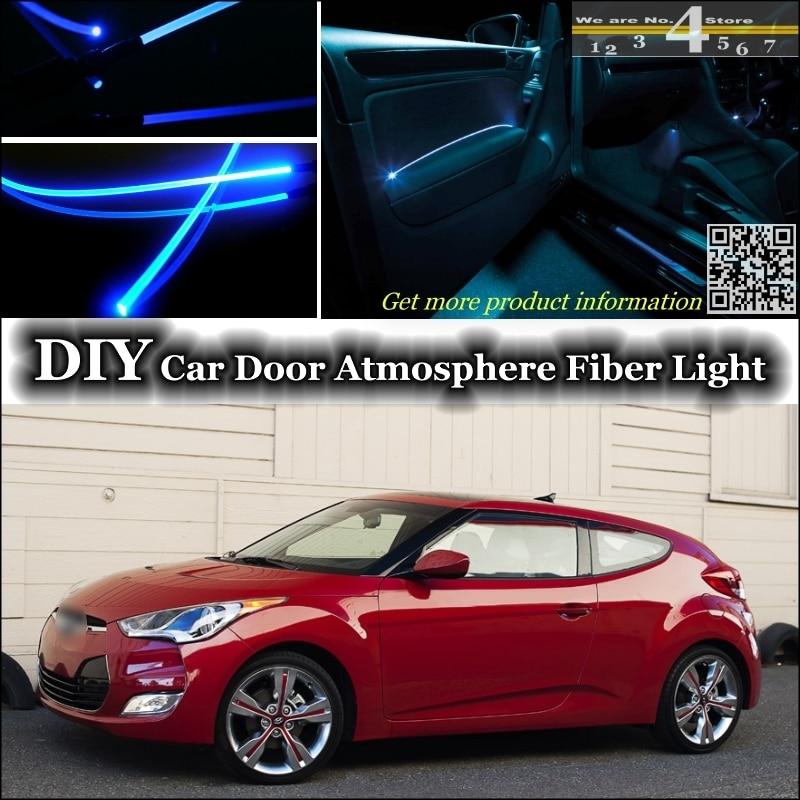 Interior Ambient Light Tuning Atmosphere Fiber Optic Band Lights For Hyundai Veloster Inside Door Panel Illumination Tuning