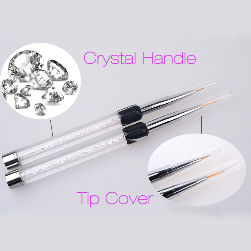 Nieuwe 1 stks nail brush 7 / 14mm crystal acryl nagels art borstels - Nagel kunst - Foto 2
