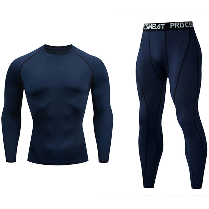 2019 Brand Men Tracksuit Jogger Set Crossfit T-shirt  Rash Gard Pants 2 Piece Tracksuit Men Compression Suit Thermal Underwear
