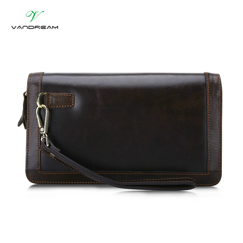 Brand Double Zipper Genuine Leather Men Wallets with Phone Bag Vintage Long Clutch Male Purses Large Capacity New Men's Wallets