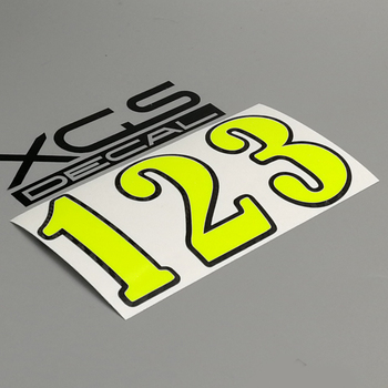 XGS DECAL Racing Number Vinyl Cut Sticker Neon Fluorescent Yellow with Black Outline Stroke for Car Motorcycle ATV Decoration image