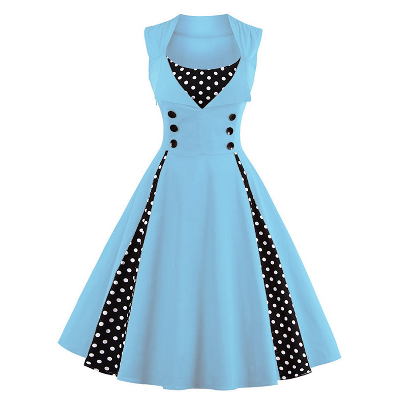 Buy Cheap M-5XL Women Robe Pin Up Dress Retro 2017 Vintage 50s 60s Rockabilly Dot Swing Summer female Dresses Elegant Tunic Vestido