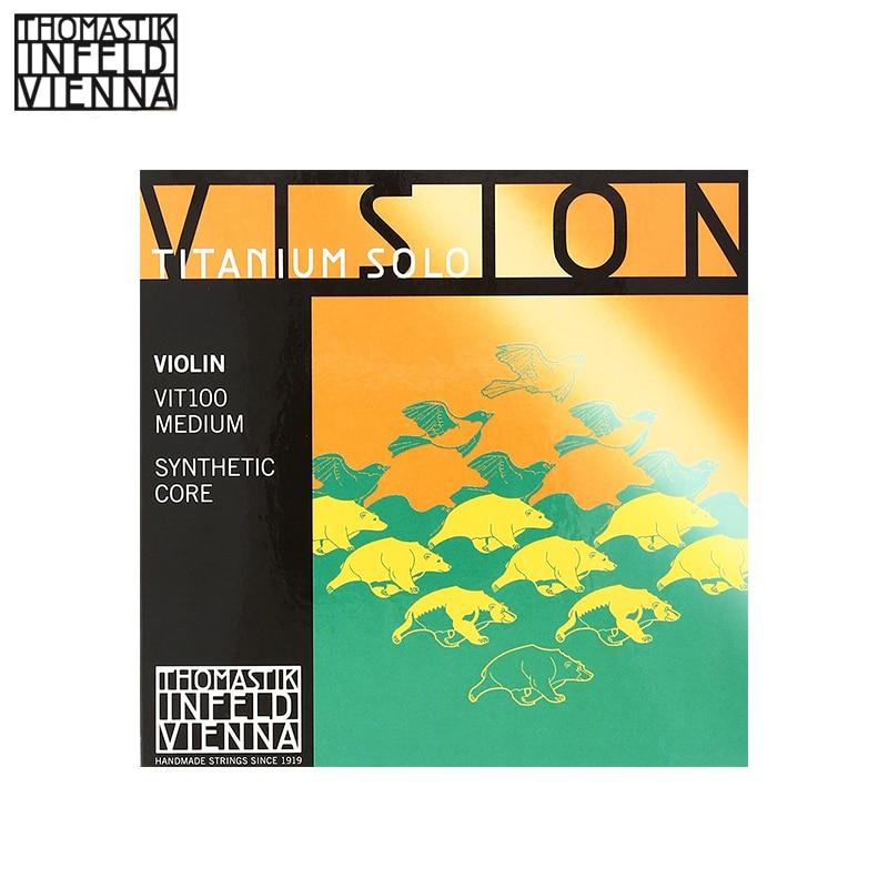 Thomastik-Infeld VIT100 Vision Titanium Solo Violin Strings, Complete Set, 4/4 Size, Synthetic Core thomastik infeld ib100 blue violin strings complete set ib100 4 4 size synthetic core