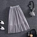 Flor Do Laço elástico na cintura comprimento da saia 2016 nova primavera feminino Coreano Pérola Frisada corpo elegante saia de gaze saia saia Tutu