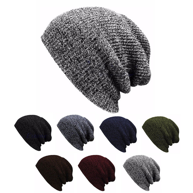 Hip Hop Knitted Hat Women s Winter Warm Casual Acrylic Slouchy Hat Crochet  Ski Beanie Hat Female Soft Baggy Skullies Beanies Men 3dc303638470