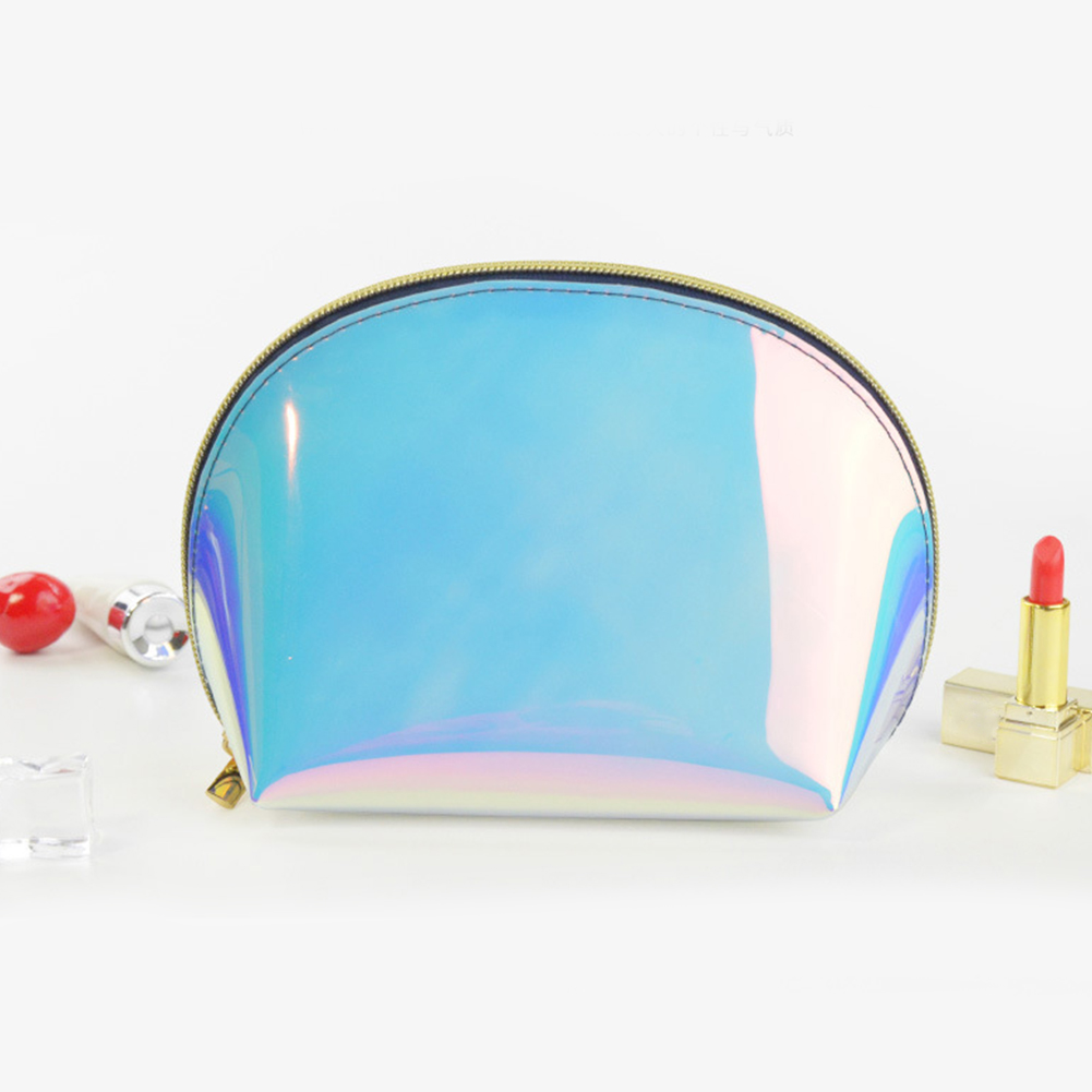 Women TPU Toiletry Practical Large Capacity Makeup Case Holographic  Transparent Zipper Waterproof Travel Cosmetic Bag