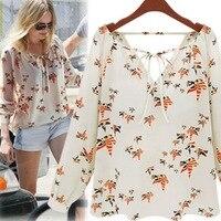 Summer Women Fashion Chiffon Top Blouse Short Long Sleeve Dove Print Casual Loose Shirt