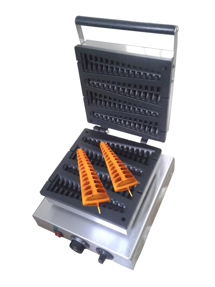 Free shipping 220V 110v Electric Pine shape 4 Pcs lolly waffle maker free shipping 1m pcs flat shape clear