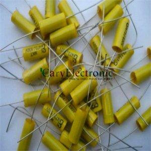 Image 3 - סיטונאי 50 יחידות מוביל ארוך צהוב אלקטרוניקה הצירי פוליאסטר קבלים 0.047 uF 630 V צינור fr amp audio משלוח חינם
