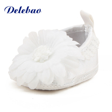 Delebao Sun Flower Sandals Christening/Baptism Baby Shoes For Newborn (0-12 Months) Unique Pure White Cotton Princess