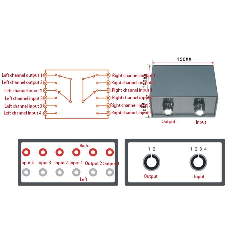 Passive Audio Signal Switcher Switch Selector Box Sound 4 Input 2 Output 2 Input 4 Output