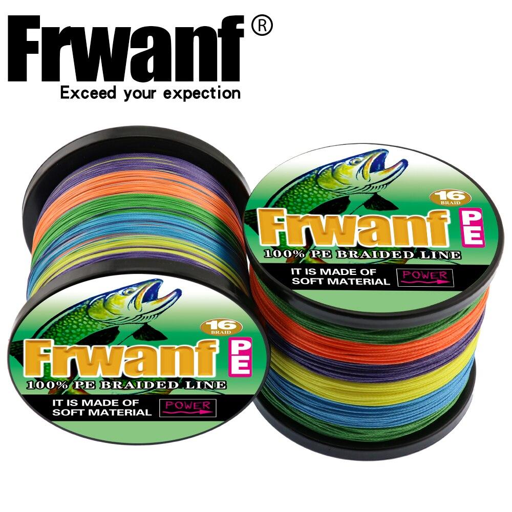 Frwanf Tressé Ligne De Pêche 16 Brins 500 m Multifilament Ligne Tressé Fil 20-500LB Hollowcore Lignes Multicolore