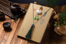 Bookmark Line Long Edition Chinese Style Lotus  jade pendant  Hanging Accessory Reading mark ancient Aestheticism Antiquity