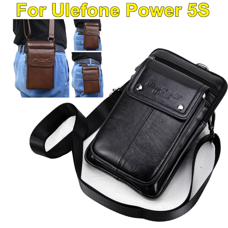 Genuine Leather Carry Belt Clip Pouch Waist Purse Case Cover for Ulefone Power 5S 6.0inch Phone Bag Bags Free Shipping