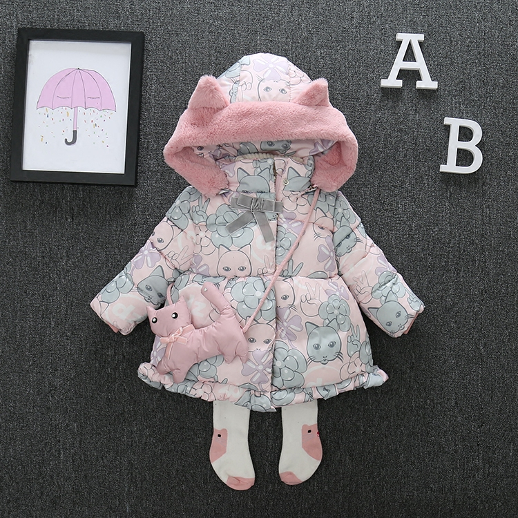 0-5 Years Floral Print Thick Kids Girls Winter Coat Jacket Snow Wear Cute Cat Hooded Toddler Girl Parkas Down Cotton Padded Z108 cat print hooded dress