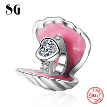 SG original charms Ring in the shell Pendant Beads Silver 925 Fit Authentic pandora Charms bracelet diy jewelry for women gifts(China)