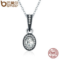 BAMOER 2018 New Real 100 925 Sterling Silver Vintage Elegance Clear CZ Pendant Necklace Women Sterling