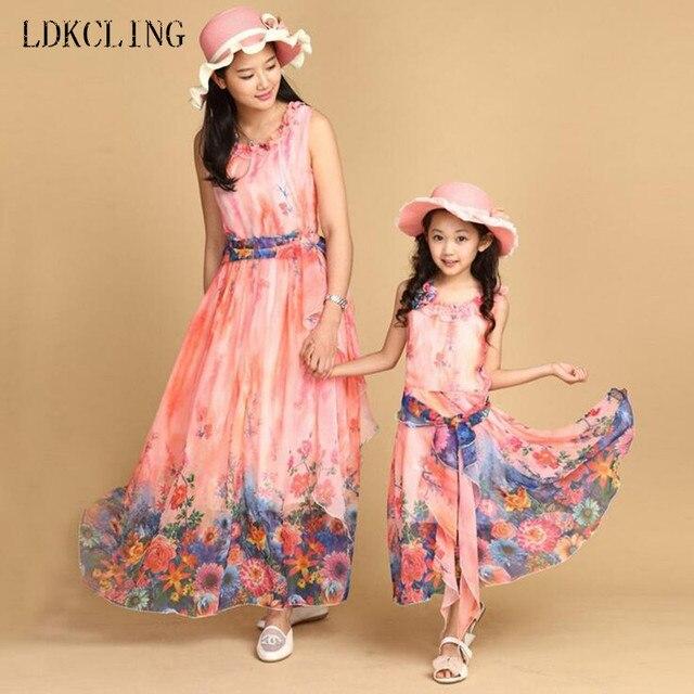 51ca445fb Summer Bohemian Style Girls Dress Floral Sundress Girls Beach Dress ...