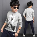 Teenager Cotton Tops Spring Boy O-neck T-shirts Boys Tops Fall Casual Clothes Infant Print Tower Tees Kids 4 6 8 10 12 14 Years
