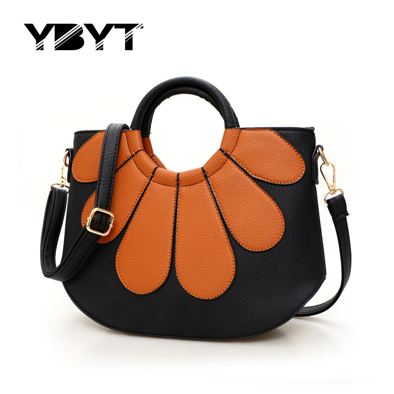YBYT brand 2017 new fashion vintage patchwork shell bags hotsale ladies round ha