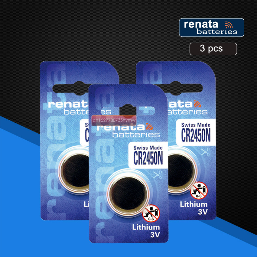 3pc New Original Renata CR2450 <font><b>CR</b></font> <font><b>2450</b></font> <font><b>3V</b></font> Lithium Button Cell Battery Coin Batteries For Watches,clocks,hearing aids image