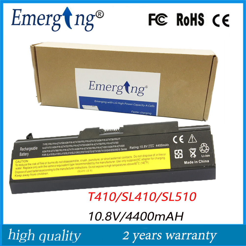 باتری لپ تاپ جدید 10.8v 4400mah با کیفیت بالا برای lenovo Thinkpad E40 T410 SL510 T420