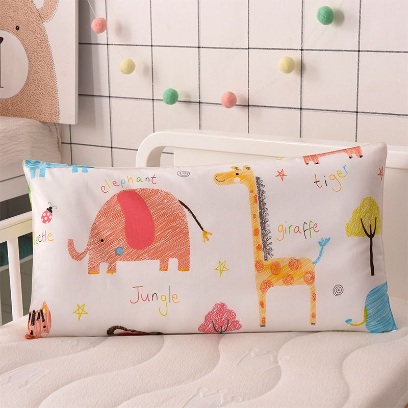 4 Colors Cartoon Cotton Kids Pillow Soft Washable Baby Sleeping Head Cushion Lengthen Rectangle Toddler Pillow Portable Headrest