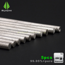5pcs magnesium Rods magnesium metals sticks Outdoor help to burn pure magnesium rod m5 m6 electric water heater magnesium bar 24x240 mm big magnesium anode rod