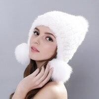 New Autumn Winter Real Mink Fur Hats Pom Pom For Women Cute Ear Cap Ears Hat Three Fur Pompons Hat Female Beanies bonnet femme