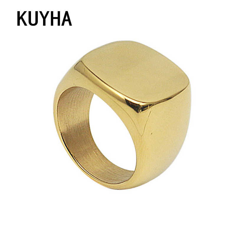 Gold Silver 316L Stainless Steel Ring 17mm Square Shape Women Men Can Be Customize Laser Text Logo Letter Name