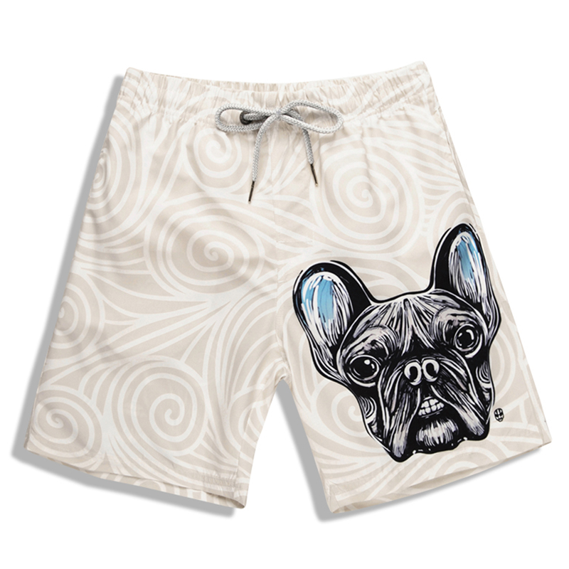 Mens Beach Pants Quick Dry Swim Trunks Men Dog Head Printed Board Shorts Polyeater Surfing Shorts M-4XL Plus Size Swim Wear