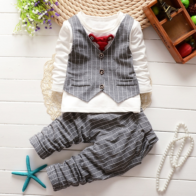 1-4Y Kids Clothes Set Fashion Toddler Boys Girls Children Clothing Sets Formal Suits Gentleman Necktie Stripe Shirt+ Pants