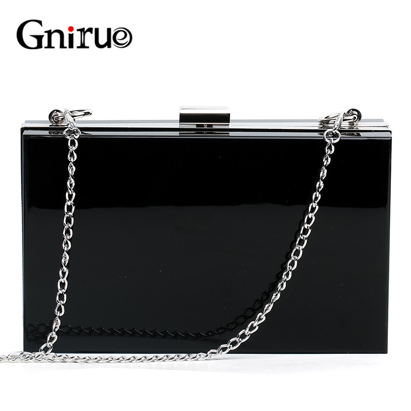 Acrylic Day Clutch Bags Chain Women Shoulder Bag Elegant Lady Messenger Bag Party Evening Bags Handbags Purses Black