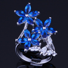 Unique Plant Blue Cubic Zirconia 925 Sterling Silver Ring For Women V0095