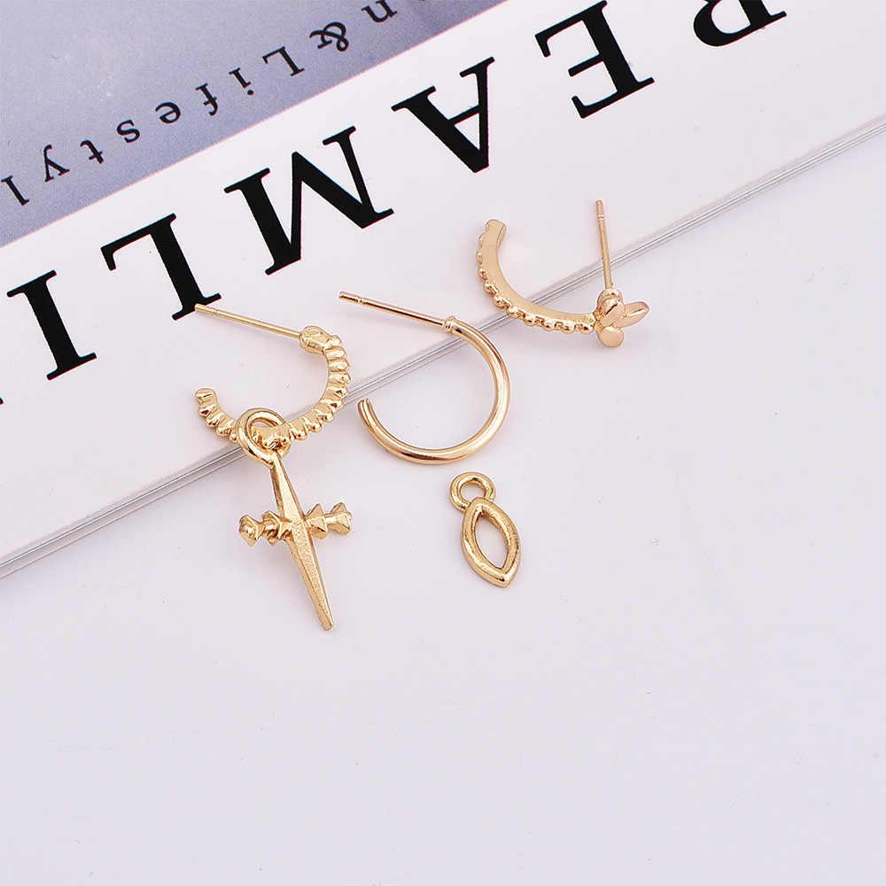 Kolczyki dla kobiet złoto srebro modny wisiorek dziewczyny Trend prezent Dangler krzyż nowe kobiece kolczyki zestaw kolczyków Stud kolczyk
