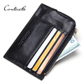 CONTACT'S Brand Business Card Holder Mens Leather Coin Purses Man Credit Card Holders Zipper Pocket Coin Purse Genuine leather
