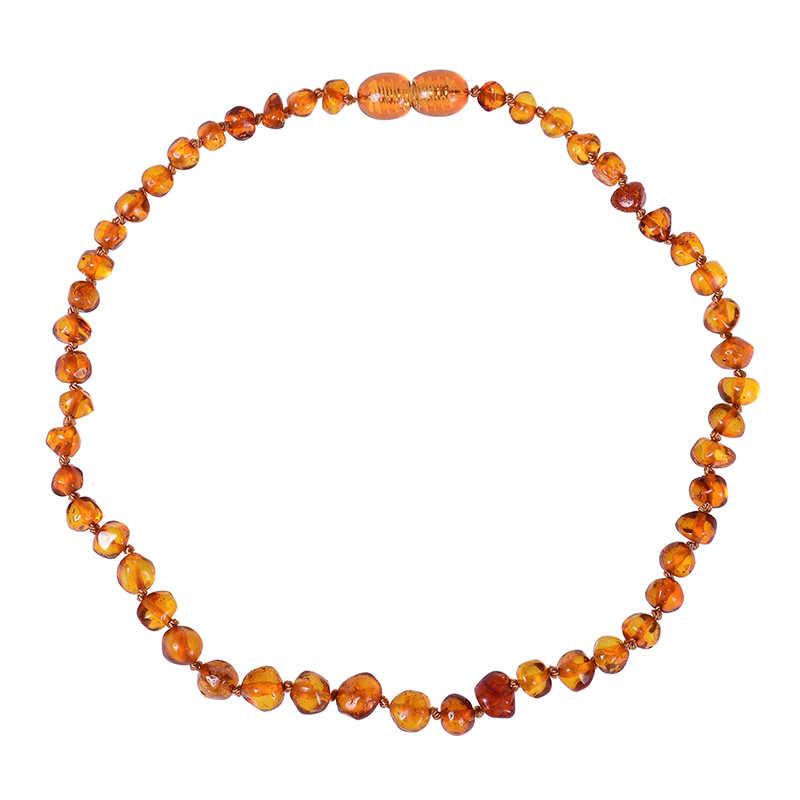 البلطيق أمبرز التسنين قلادة للأطفال (للجنسين) (كونياك)-مكافحة فلاماتوري ، الطبيعية معتمد البيضاوي البلطيق مجوهرات 14-33 سنتيمتر