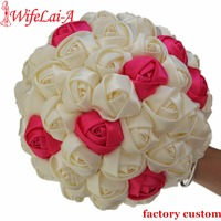 Cheap Bouquets Colorful Satin Rose Bridal Bouquets Accept Custom Holding Artificial Flowers Holding Wedding Bouquet Durable