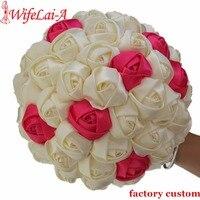 Wifelai-a سوبر جيدة 100% اليدوية الشريط زهرة باقة الزفاف باقة الزفاف العاج boque noiva تقبل فكرتك مخصص W223-1