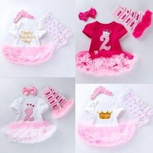 3 pçs por conjunto rosa rosa bebê meninas coroa 1st 2nd festa de aniversário vestido princesa coroa jumpersuit bandana leggins 0-24months