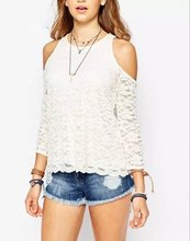 Nice Pop Women Blouses Off Shoulder Lace Shirts Sexy Slim Femininas Fashion Tops Sweet Ladies Blouses plusAA8180