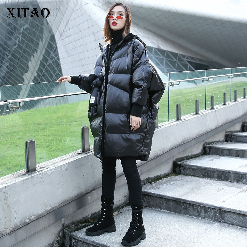 [XITAO] 2018 Autumn Korea Fashion New Arrival Women Casual Hooded Collar Full Sleeve Thick Long Solid Pocket Color   Parka   LJT4459