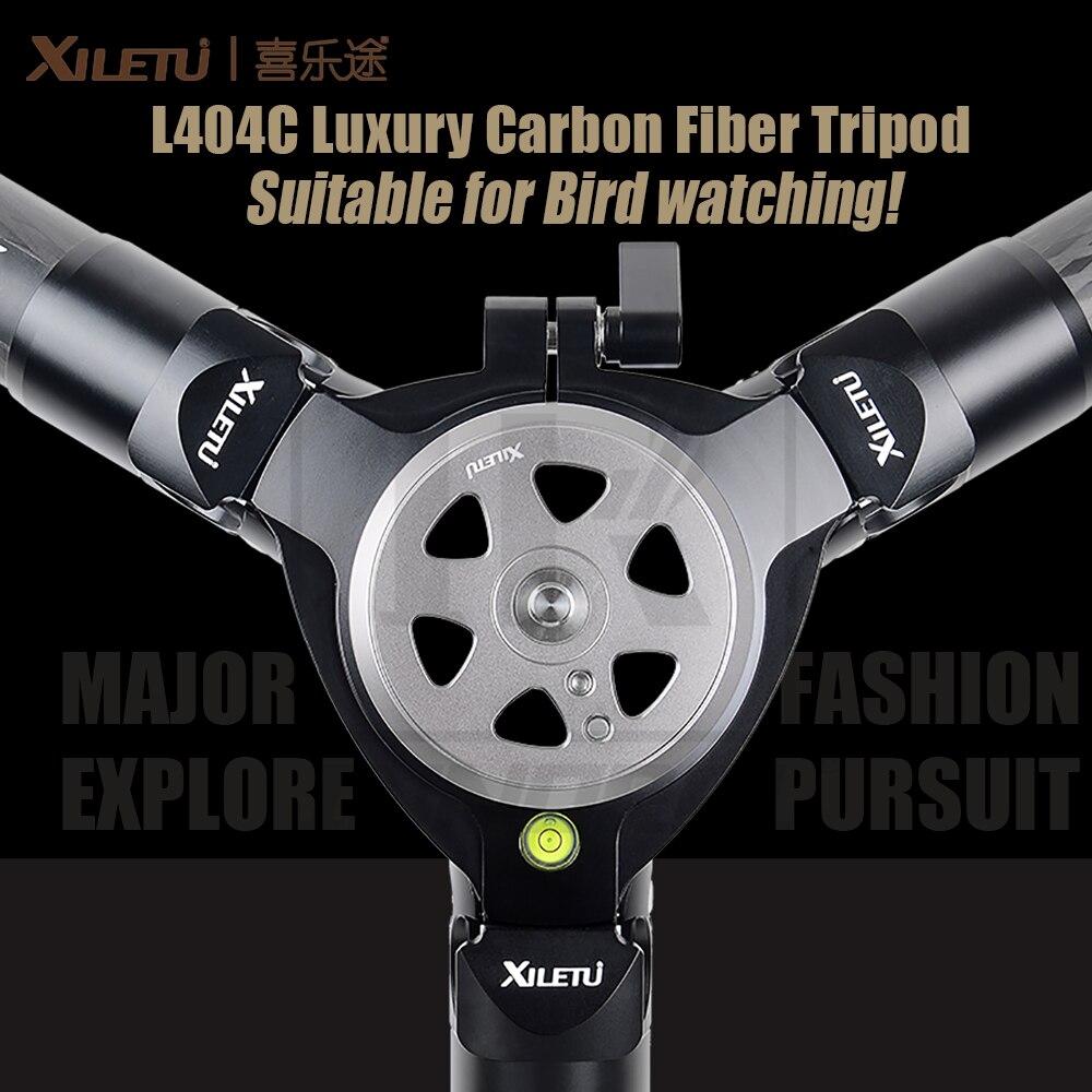 XILETU L404C Luxo Fibra De Carbono Tripé Pássaro assistindo Sem mid-eixo 40mm grande tubo Oco projeto flange 30 kg capacidade de carga