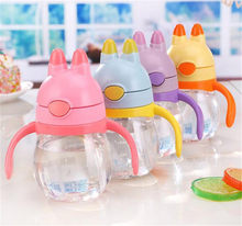 1Pc 200ML Training Feeding Cup Baby Mamadeira Sippy for Kids Children Learn Feeding Drinking Water Straw Handle Bottle(China)