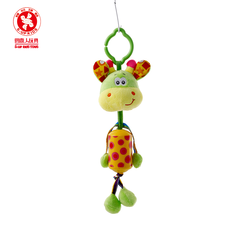 Happy Monkey Baby & Toddler Cartoon Animals Hanging Bed Bell Educational Toys Baby Bedside Rattle Plush Toys Sound animal toys