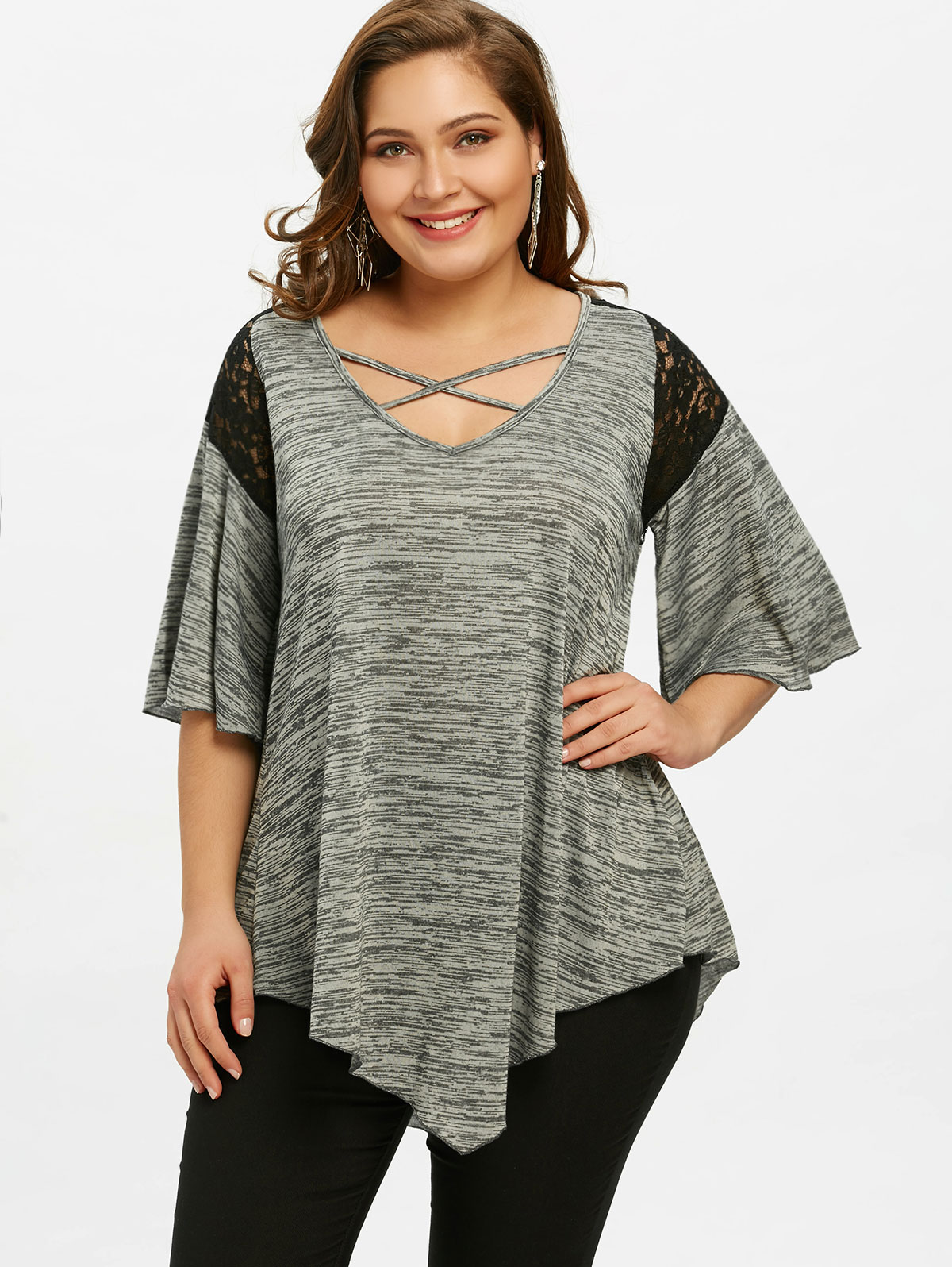 Gamiss plus size flare sleeve tunic asymmetrical t shirt for Plus size 3 4 sleeve tee shirts