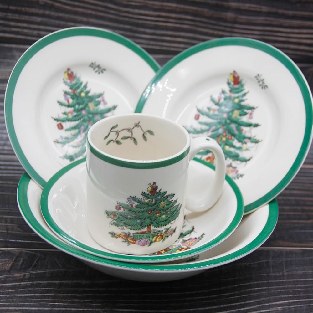 Ensemble de vaisselle en céramique de sapin de noël de 5 pièces/ensemble assiette de petit déjeuner plats de boeuf plat de Dessert assiette de collation de fruits Simple